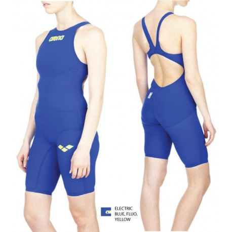 Electic-blue-fluo-yellow Powerskin R-Evo+ Full Body Short Leg Open Suit Arena