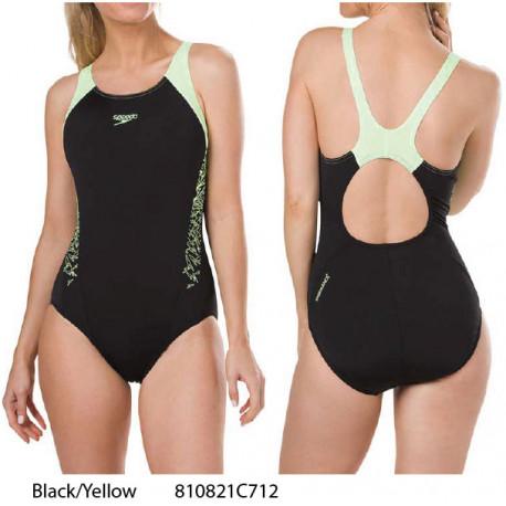 Black/Yellow - Women's Fit Kickback Swimsuit Speedo