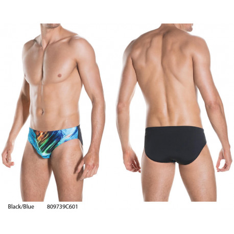 Black/Blue - Placement Digital 7cm Brief Speedo