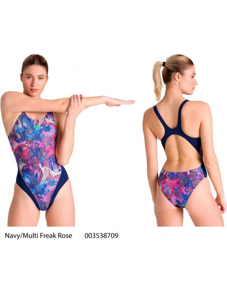 Navy/Multi Freak Rose - Arena Swimsuit Woman Kikko