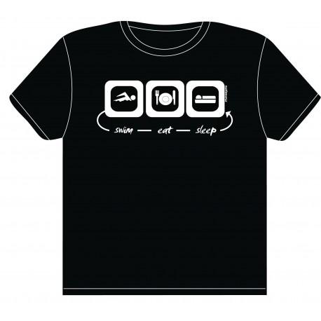 """T-shirt maglietta """"swim-eat-sleep"""" Nuotomania"""
