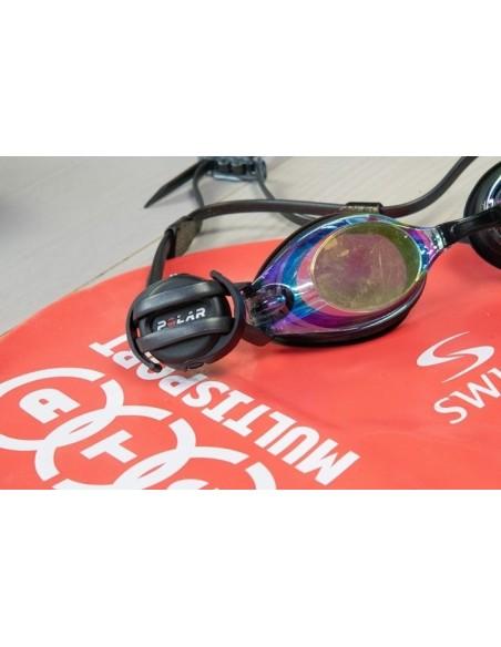 Polar Verity Sense on swim goggles