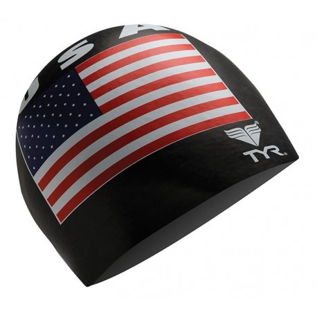 Tyr USA Black Swim Swim Cap