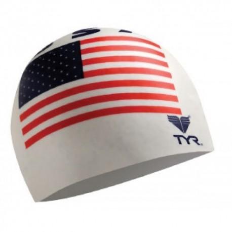 Cuffia nuoto bandiera americana USA sfondo biancoTYR