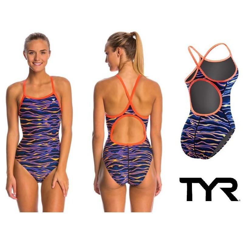 Costume Aquarapid da piscina e nuoto donna intero con spallina stretta Skill Back con reggiseno interno, realizzato in tessuto SUMATRA altamente resistente al cloro e alle abrasioni.