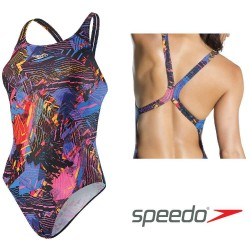 Women's Cosmic Clash Allover Powerback Swimsuit Speedo