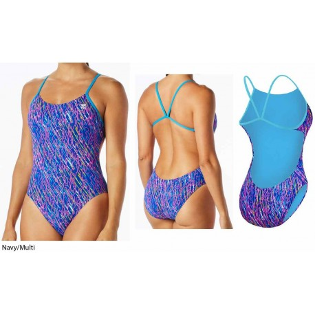 Navy/Multi - Costume intero donna Electro Cutoutfit TYR