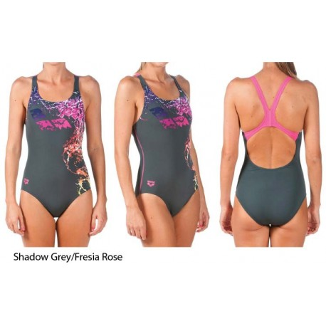 Shadow Grey/Fresia Rose - Costume Intero Donna Backwash Arena