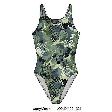 Army/Green - Costume intero donna Teknocamou Jaked