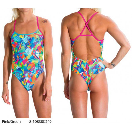 Pink/Green - Women's Flipturns Crossback Swimsuit Speedo