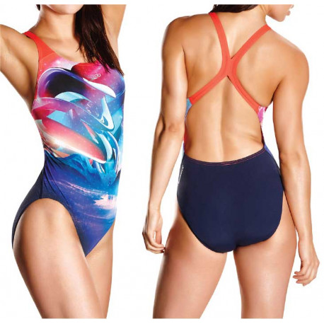 Women's Solar Surface Placement Digital Powerback Swimsuit Speedo