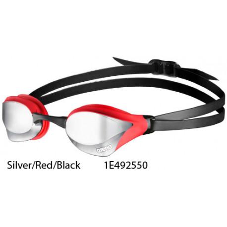 Silver/Red/Black - Occhialini nuoto Cobra Core Specchiati Arena