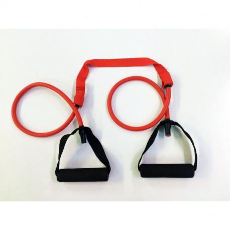 Elastico tubolare con maniglie - rosso resistenza media