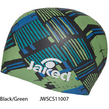 Black/Green - Jaked Tracks Swim Cap
