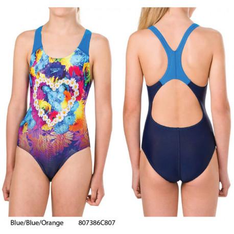 Blue/Blue/Orange - Costume bambina Placement Digital Splashback Speedo