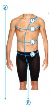 Speedo men's tech suit open water chart size